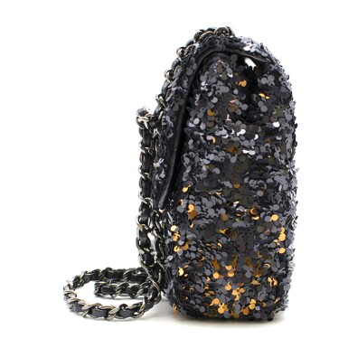 View 5. Thumbnail of Lot 76. Classic Flap Bag in Blue, Silver & Gold Sequin with gunmetal hardware, calfskin trim & nylon lining. Chanel. 2018..