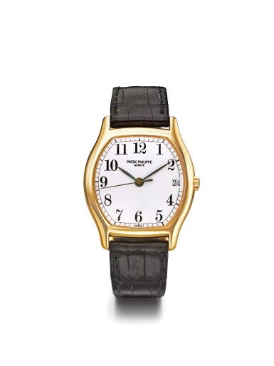 PATEK PHILIPPE   REF 5030R,  A PINK GOLD TONNEAU FORM AUTOMATIC CENTER SECONDS WRISTWATCH WITH DATE MADE IN 1995