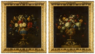 View 2. Thumbnail of Lot 42. A pair of floral still lifes, in lapis and bronze vases on stone plinths | 《靜物畫一對:石基座上的青銅鑲青金石瓶花》.