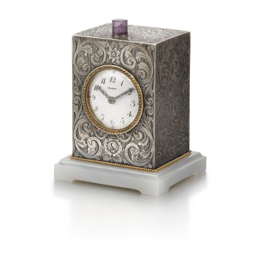 View 2. Thumbnail of Lot 701. SILVER QUARTER REPEATING DESK CLOCK EARLY 20TH CENTURY.