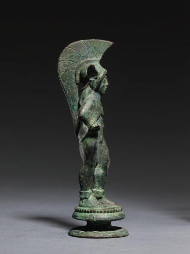 View 2. Thumbnail of Lot 8. AN ETRUSCAN BRONZE FIGURE OF A WARRIOR, CIRCA 500-475 B.C..