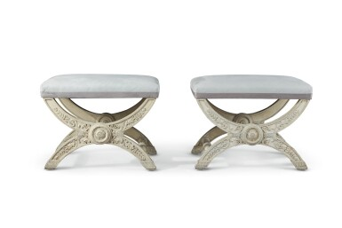 A PAIR OF EMPIRE WHITE-PAINTED X-FRAME TABOURETS, 19TH CENTURY