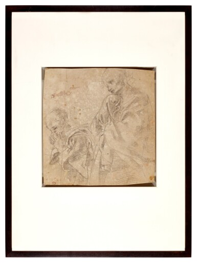 View 2. Thumbnail of Lot 10. Recto: Two separate studies for the figure of St. John in a Lamentation; Verso: Study for the figure of the Madonna in an Assumption.