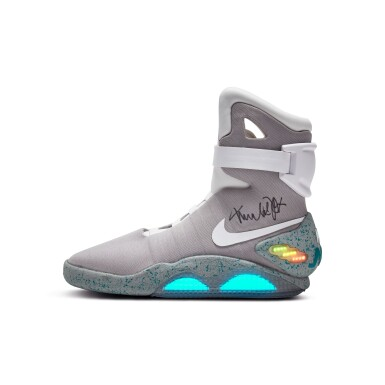 View 5. Thumbnail of Lot 1. Michael J. Fox Dual Signed Nike MAG 'Back to the Future' | 2011.