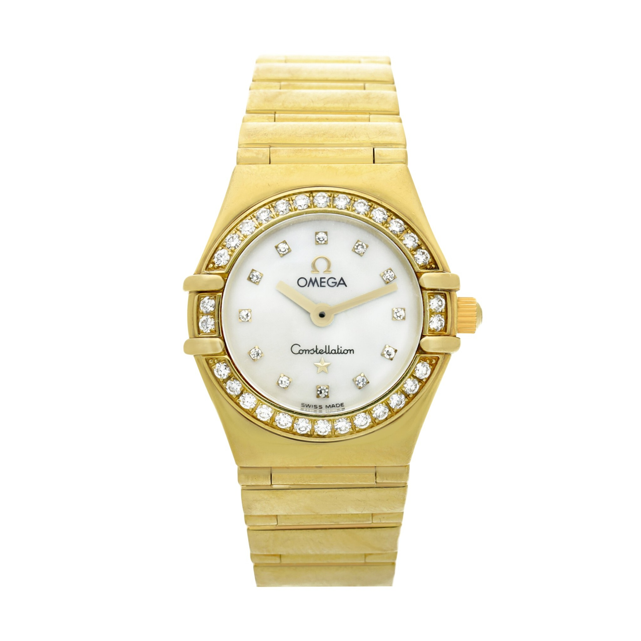 View full screen - View 1 of Lot 28. Reference 895 1243 Constellation  A yellow gold and diamond-set bracelet watch with mother-of-pearl dial, Circa 1998 .