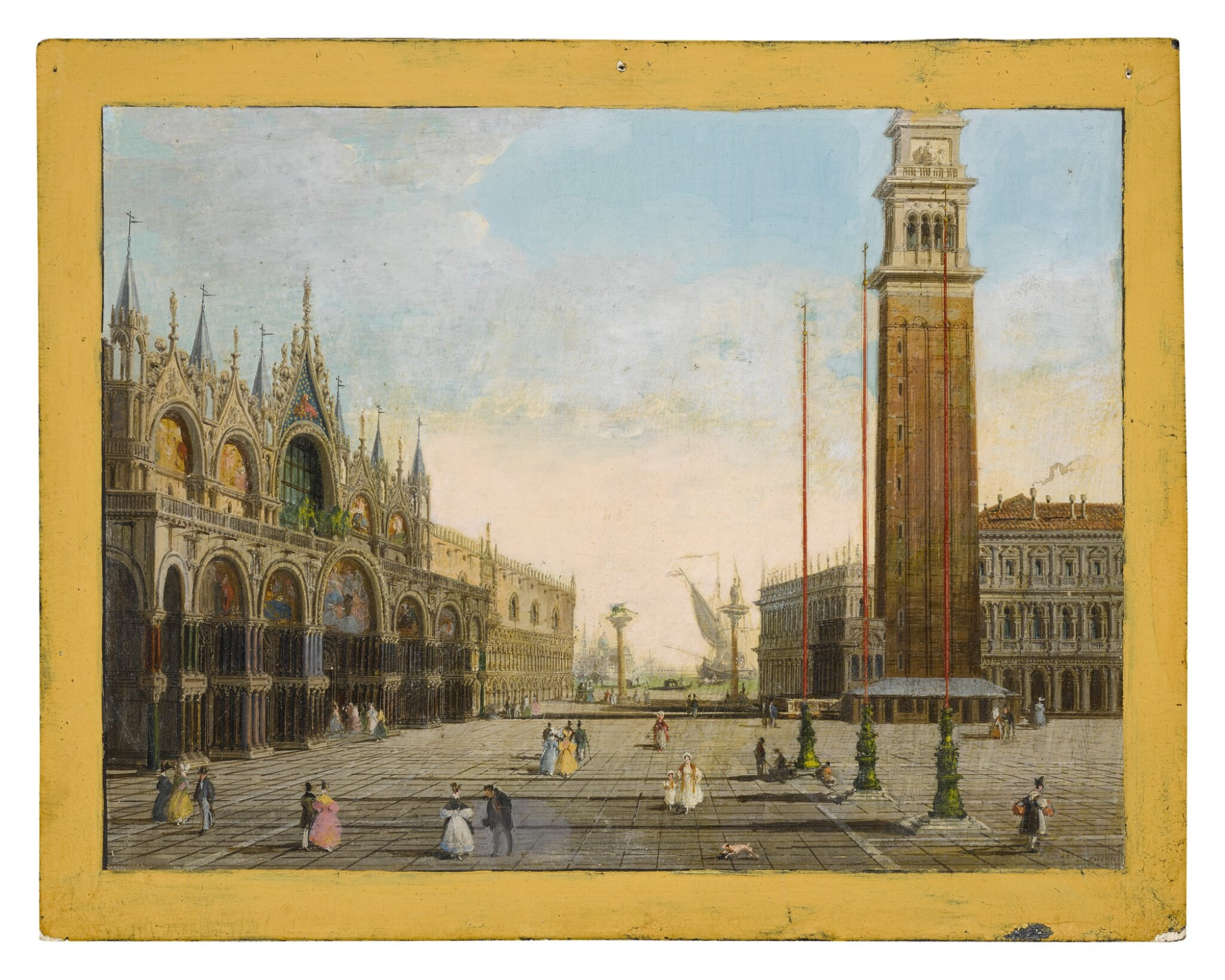 View full screen - View 1 of Lot 653. View of St. Mark's Square with the Piazzetta and San Giorgio Maggiore in the background.