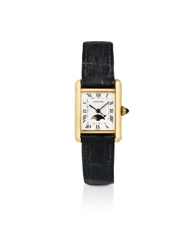 CARTIER | TANK, YELLOW GOLD WRISTWATCH WITH DATE AND PHASES OF THE MOON [TANK QUARTZ, MONTRE EN OR JAUNE AVEC DATE ET PHASES DE LA LUNE]