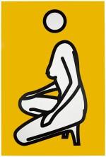 Female Nude Squatting on One Knee