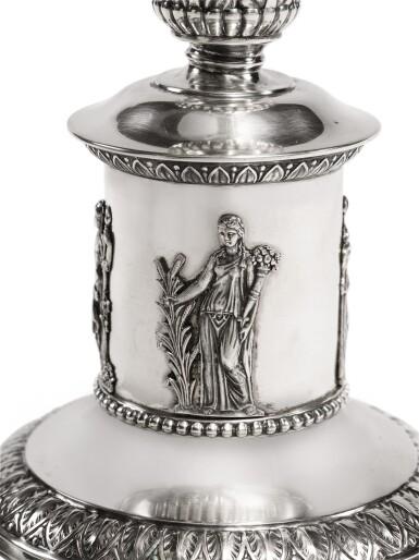 View 2. Thumbnail of Lot 123. A GERMAN SILVER HANUKAH LAMP, LAZARUS POSEN, FRANKFURT, EARLY 20TH CENTURY.