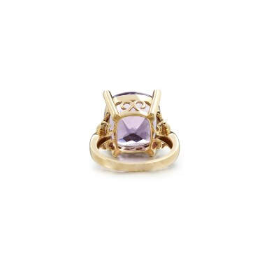 View 3. Thumbnail of Lot 16. AMETHYST AND DIAMOND RING.