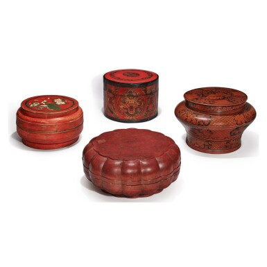 A GROUP OF FOUR CHINESE LACQUER BOXES