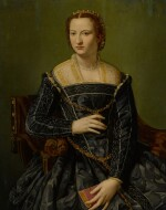 Portrait of a lady in black, holding a book, three-quarter length