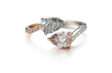 FANCY GRAY DIAMOND, FANCY PURPLISH PINK DIAMOND AND DIAMOND RING   0.99卡拉 彩灰色鑽石 配 0.75卡拉 彩紫粉紅色鑚石 及 鑽石 戒指