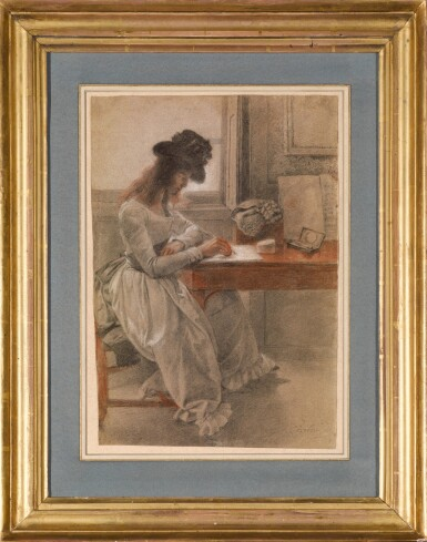 View 2. Thumbnail of Lot 19. JOHAN JOSEPH ZOFFANY, R.A.   THE ARTIST'S DAUGHTER, CECILIA, SEATED AT A WRITING DESK .