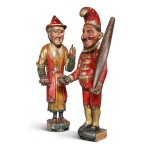 VERY FINE AND RARE CARVED AND POLYCHROME PAINT-DECORATED PINE FIGURES OF PUNCH AND JUDY, RICHARD GILBERT OAKES (1827-1916), JOLIET CITY, WILL CO., ILLINOIS, CIRCA 1875-85