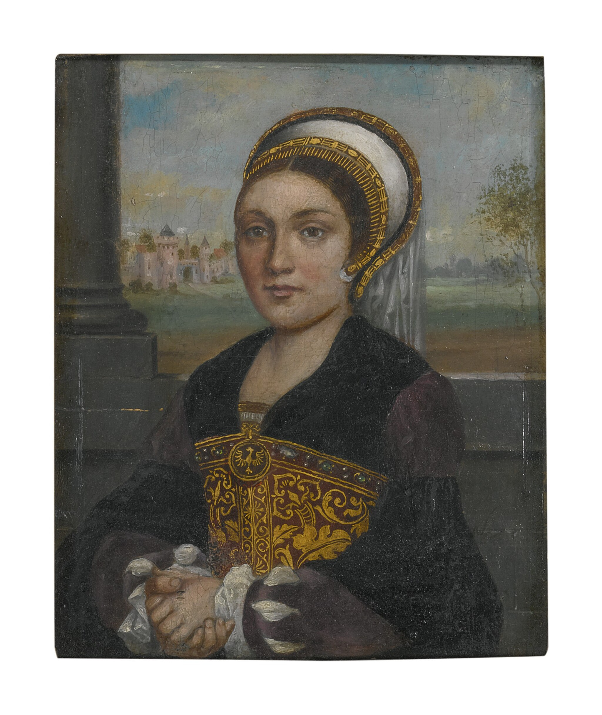 View full screen - View 1 of Lot 60. Sold Without Reserve   MANNER OF HANS HOLBEIN, CIRCA 1900   PORTRAIT OF A LADY, HALF LENGTH, WITH AN ELABORATE FRENCH HOOD AND VEIL, FACING LEFT.