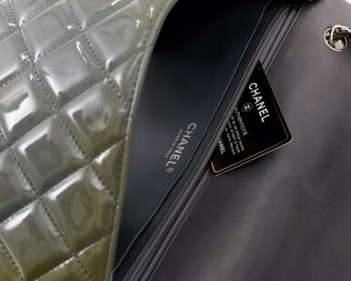 View 4. Thumbnail of Lot 43. Green/grey patent leather with silver-tone metal classic shoulder bag.