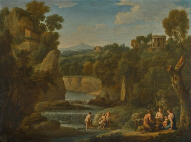 HENDRIK FRANS VAN LINT, CALLED LO STUDIO | A wooded arcadian landscape with a satyr and nymphs, with a distant view to the Temple of Vesta at Tivoli