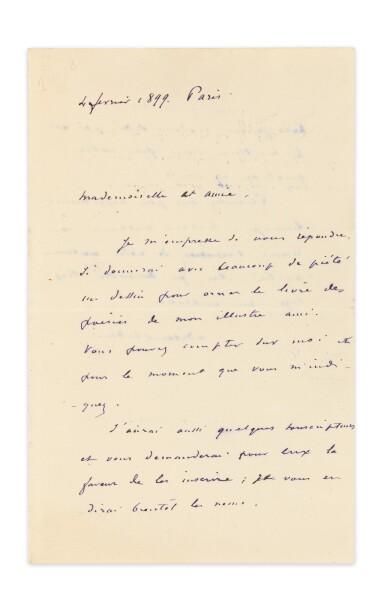 View 1. Thumbnail of Lot 253. REDON, Odilon. Lettre autographe signée à Geneviève Mallarmé, 1899, sur le projet d'illustration des Poésies.