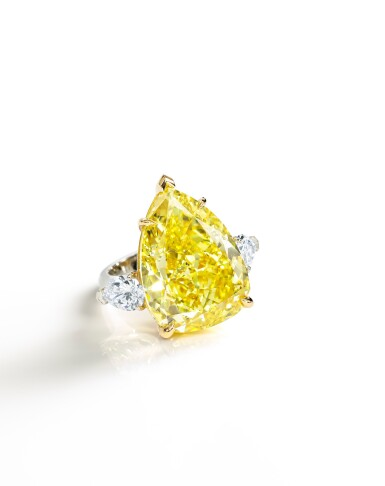 View 2. Thumbnail of Lot 1721. FANCY VIVID YELLOW DIAMOND AND DIAMOND RING   23.54卡拉 艷彩黃色鑽石 配 鑽石 戒指.