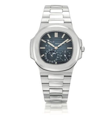 View 1. Thumbnail of Lot 2080. Patek Philippe | Nautilus, Reference 5712, A stainless steel bracelet watch with date, moon phases and power reserve indication, Circa 2007 | 百達翡麗 | Nautilus 型號5712   精鋼鏈帶腕錶,備日期、月相及動力儲備顯示,約2007年製.