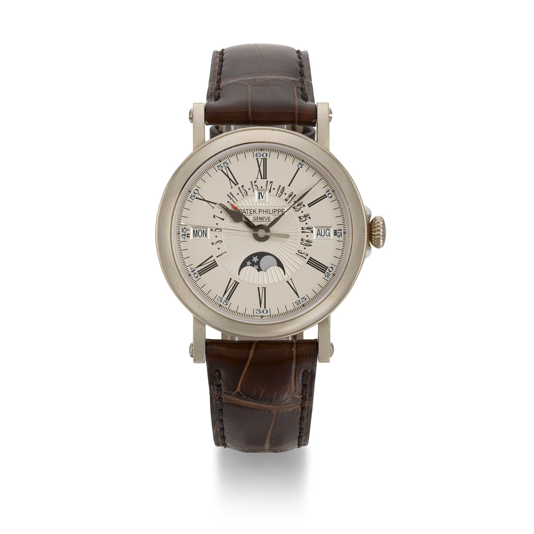 View full screen - View 1 of Lot 348. PATEK PHILIPPE | REFERENCE 5159G, WHITE GOLD PERPETUAL CALENDAR WRISTWATCH, CIRCA 2016.