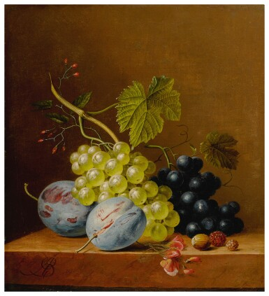 View 1. Thumbnail of Lot 596. Grapes, plums, raspberries, flowers and an acorn on a wooden ledge.