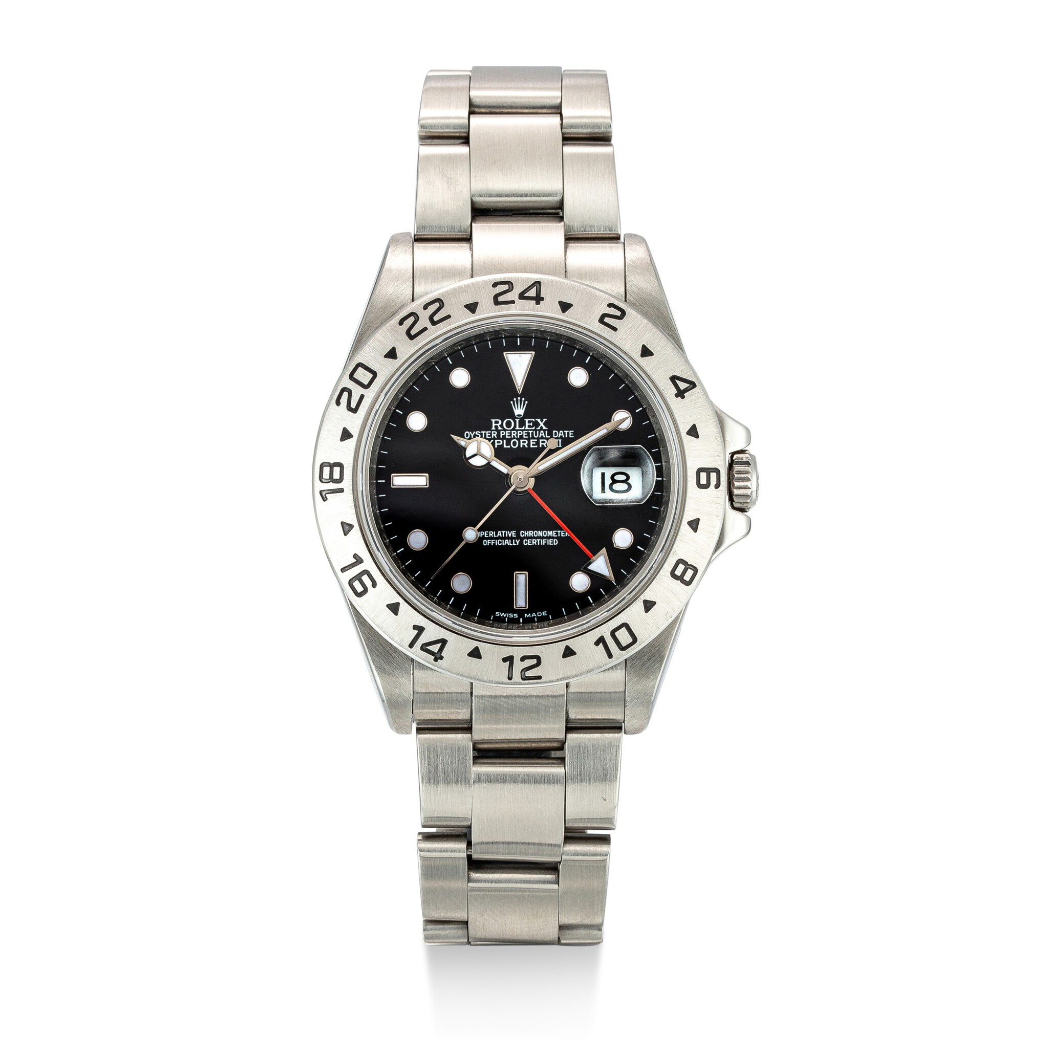 View full screen - View 1 of Lot 604. ROLEX   EXPLORER II, REFERENCE 16570,  A STAINLESS STEEL WRISTWATCH WITH DATE, 24 HOURS INDICATION AND BRACELET, CIRCA 2008.