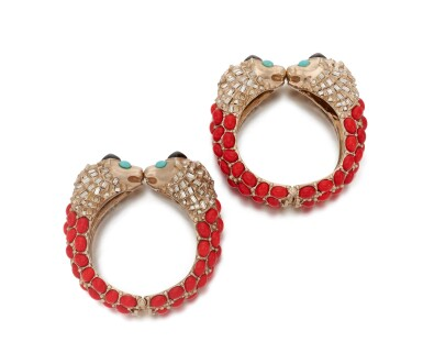 View 2. Thumbnail of Lot 97. Pair of red, turquoise and black gripoix and rhinestone cuffs.