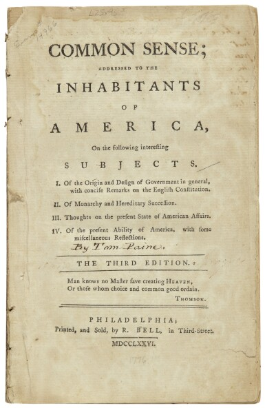 View 1. Thumbnail of Lot 2203. [Paine, Thomas]. Common Sense; Addressed to the Inhabitants of America . . . Philadelphia: R. Bell, 1776.