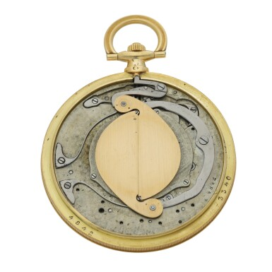 View 5. Thumbnail of Lot 43. CARTIER, PARIS | A YELLOW GOLD WATCH WITH CONCEALED GUILLOTINE DIAL CIRCA 1930.