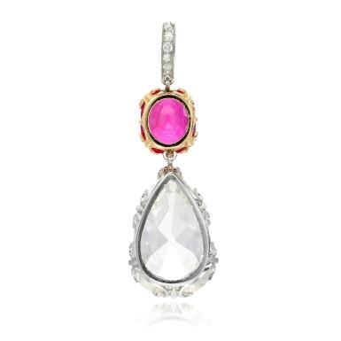 View 3. Thumbnail of Lot 51. Ruby and diamond pendant, circa 1900.