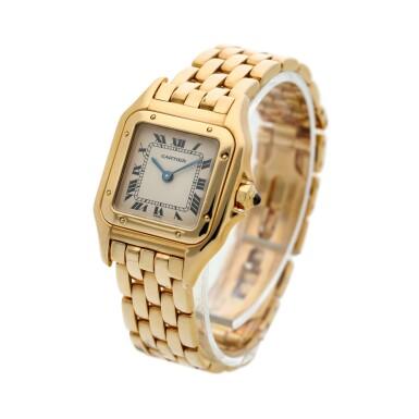 View 2. Thumbnail of Lot 23. Panthère  A yellow gold square shaped wristwatch with bracelet, Circa 1995 .