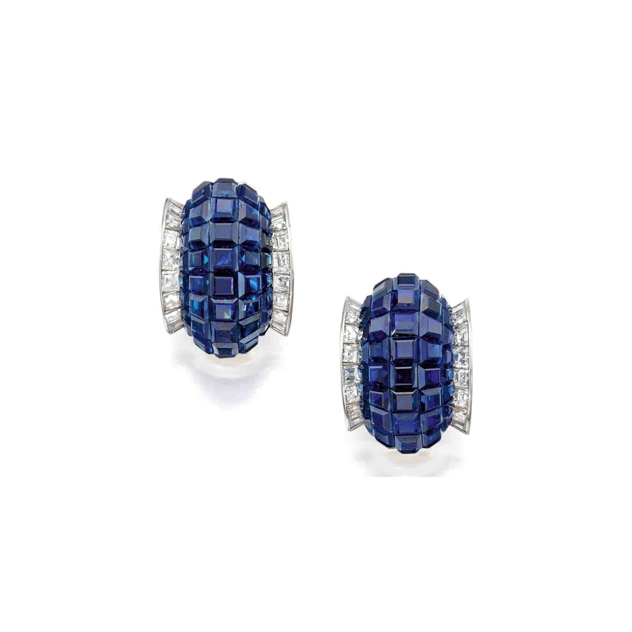 View full screen - View 1 of Lot 43. Van Cleef & Arpels [ 梵克雅寶] | Pair of Sapphire and Diamond 'Mystery-Set' Earclips [藍寶石配鑽石「Mystery-Set」耳環一對].