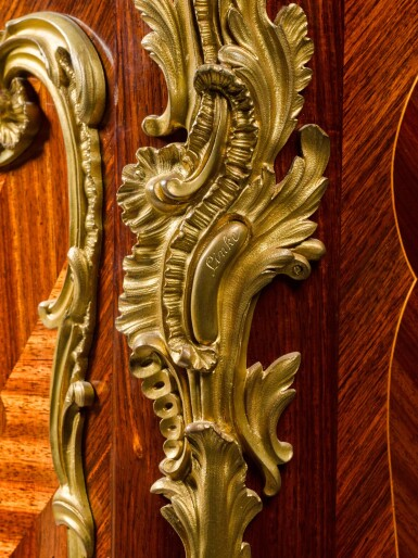 View 6. Thumbnail of Lot 16. A LOUIS XV STYLE GILT-BRONZE MOUNTED MARQUETRY SIDE CABINET, BY FRANÇOIS LINKE, CIRCA 1900.