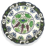 A LARGE THEODORE DECK IZNIK-STYLE POTTERY DISH WITH GRAPES, FRANCE, 19TH CENTURY