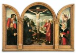 ATTRIBUTED TO PIETER CLAEISSENS THE ELDER (1500-1576) AND NORTH NETHERLANDS SCHOOL, CIRCA 1550 | A PORTABLE TRIPTYCH: THE CRUCIFIXION (CENTRAL PANEL); DONATOR WITH ST JOHN THE BAPTIST (LEFT WING); DONATOR WITH ST MARGUERITE OF ANTIOCHE (RIGHT WING)