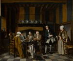 JAN JOSEF HOREMANS THE YOUNGER | An elegant interior with figures having a tea party