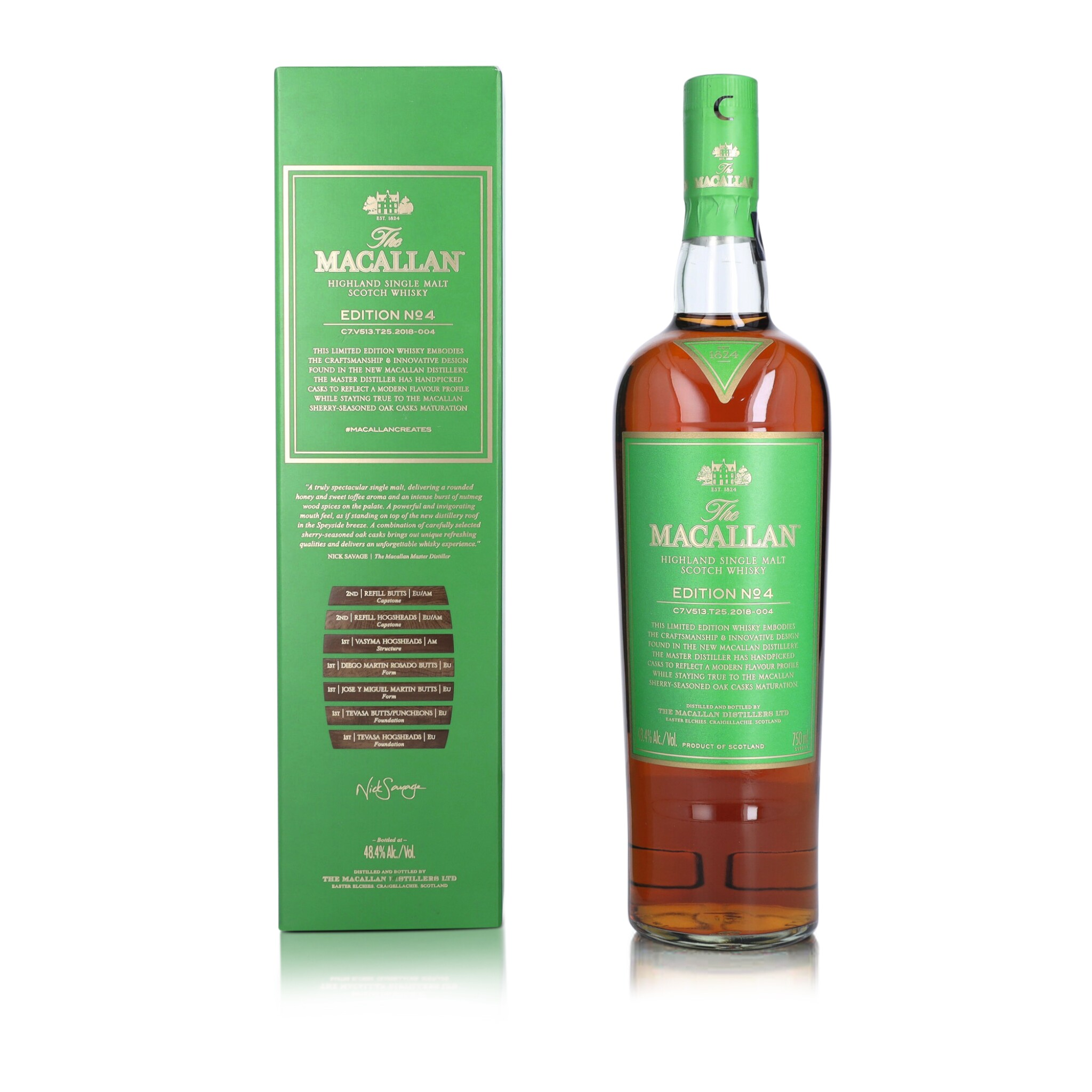 View full screen - View 1 of Lot 50. The Macallan Edition No.4 48.4 abv NV (1 BT75).