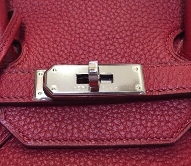 View 9. Thumbnail of Lot 723. HERMÈS   ROUGE GRENATE BIRKIN 35 IN TOURILLON CLEMENCE LEATHER WITH PALLADIUM HARDWARE, 2008.
