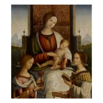Sold Without Reserve | BERNARDINO DI BOSIO ZAGANELLI, CALLED BERNARDINO DA COTIGNOLA | MADONNA AND CHILD ENTHRONED WITH SAINTS MARY MAGDALENE AND CATHERINE OF ALEXANDRIA BEFORE A LEDGE, A LANDSCAPE B...