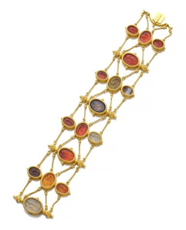 View 2. Thumbnail of Lot 149. GOLD AND HARDSTONE INTAGLIO BRACELET, CIRCA 1860.