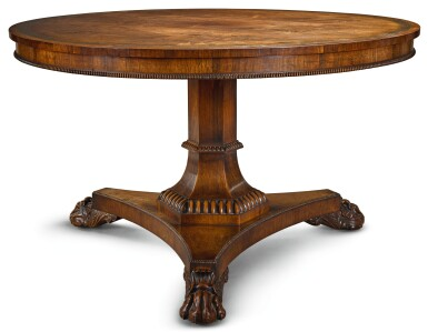 A GEORGE IV BRASS INLAID ROSEWOOD CENTRE TABLE, CIRCA 1820, ATTRIBUTED TO GILLOWS