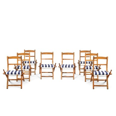 View 1. Thumbnail of Lot 7. A SET OF EIGHT SHIP'S ASH AND BEECH FOLDING CHAIRS, EARLY 20TH CENTURY.