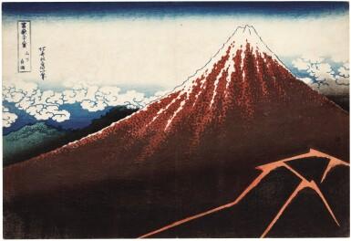 View 1. Thumbnail of Lot 18. KATSUSHIKA HOKUSAI (1760–1849), EDO PERIOD, 19TH CENTURY   SHOWER BELOW THE SUMMIT (SANKA HAKU-U).