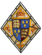 PROBABLY ENGLISH, 14TH/ EARLY 15TH CENTURY | WINDOW PANEL WITH A COAT OF ARMS OF THE KING OF ENGLAND