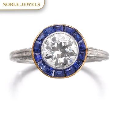View 1. Thumbnail of Lot 665. Diamond and sapphire ring, circa 1915 | 鑽石配藍寶石戒指,約1915年.