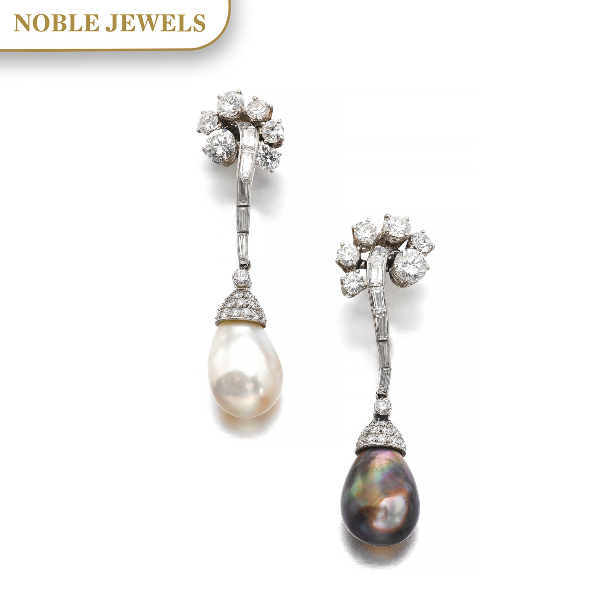 View full screen - View 1 of Lot 660. Bulgari | Pair of natural pearl and diamond pendent ear clips, circa 1957 | 寶格麗 | 天然珍珠配鑽石耳墜一對,約1957年.