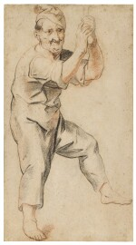 Study of a man holding a bell rope
