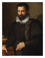 TOMMASO D'ANTONIO MANZUOLI, CALLED MASO DA SAN FRIANO |  PORTRAIT OF A GENTLEMAN, THREE-QUARTERS, HIS ARM RESTING ON A WRITING TABLE